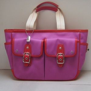 Fuchsia & Red Leather Trim COACH Hampton Tote